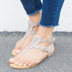 Tan taupe ankle strap sandals